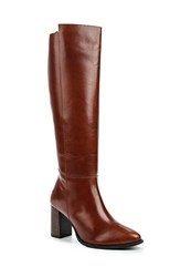 Lost Ink Grasp Leather High Block Heel Boots Brown