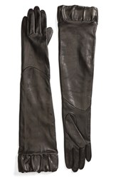 Fownes Brothers Women's Ruffle Trim Long Leather Gloves