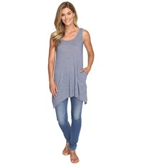 Allen Allen 2 Pocket Angled Tunic Tank Blue Haze Women's Dress