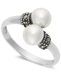 Genevieve And Grace Sterling Silver Pearl 5 1 2Mm And Marcasite Bypass Ring