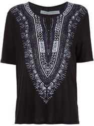 Raquel Allegra Embroidery Print T Shirt Black