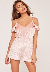 Missguided Pleated Velvet Frill Cold Shoulder Sleeve Playsuit Pink