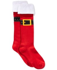 Charter Club Women's Buckle Up Knee High Socks Only At Macy's Brick Red