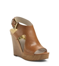 Michael Kors Josephine Leather Wedge Luggage
