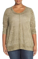 Plus Size Women's Sejour Heathered Scoop Neck Tee Olive Triblend Pattern