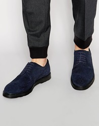 Asos Brogue Shoes In Navy Suede With Wedge Sole