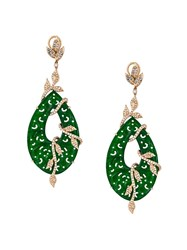 Gemco Carved Jade Drop Diamond Earrings Green
