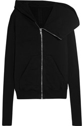 Rick Owens Cotton Jersey Hooded Jacket Black