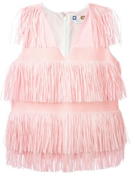 Msgm Fringed Sleeveless Top Pink And Purple