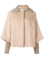 Christopher Kane Cape Sleeve Coat Nude And Neutrals