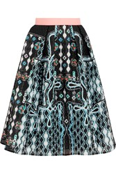 Peter Pilotto Circle Printed Cloque Skirt Blue