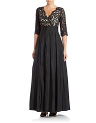 Eliza J Three Quarter Sleeve Surplice Lace Gown Black