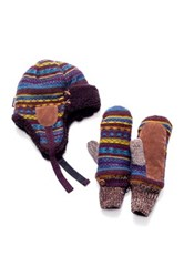 Muk Luks Vintage Faux Fur Trapper And Mittens Set Brown