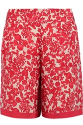 Tory Burch Merin Printed Silk Crepe De Chine Shorts Red