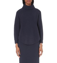 Armani Collezioni Turtleneck Wool And Cashmere Blend Jumper Navy