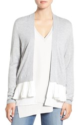 Chelsea 28 Women's Chelsea28 Ruffle Trim Cardigan Grey Heather Combo
