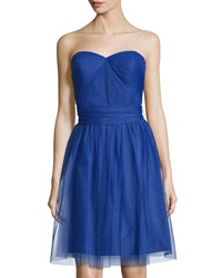 Marina Pleated Strapless Sweetheart Dress Royal