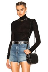 Alexander Wang T By Sheer Wooly Rib Long Sleeve Turtleneck In Black
