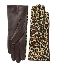 Cole Haan Haircalf Back Leather Glove Mahogany Leopard Printed Haircalf Extreme Cold Weather Gloves Animal Print
