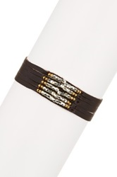 Nakamol Design Multicolor Metal Bead Accent Multi Strand Leather Bracelet No Color