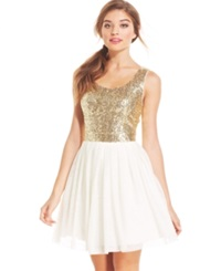 B Darlin Juniors' Sequin Pleated A Line Dress White Gold