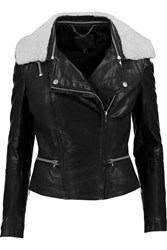 Muubaa Kavali Shearling Trimmed Leather Biker Jacket Black
