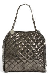 Stella Mccartney 'Small Falabella' Quilted Faux Leather Tote Metallic Ruthenium