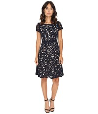 Nue By Shani Laser Cutting Fit And Flare Dress Navy Nude Women's Dress Black