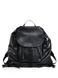 Bottega Veneta Leather Drawstring Backpack Black