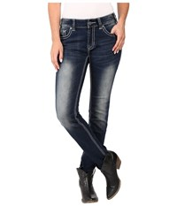 Rock And Roll Cowgirl Mid Rise Skinny In Dark Vintage W1s7387 Dark Vintage Women's Jeans Navy