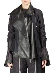 Sacai Floral Quilted Leather Trim Jacket Black
