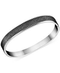 Calvin Klein Stainless Steel Black Swarovski Crystal Bangle Bracelet Silver