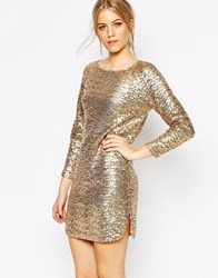 Vero Moda Long Sleeve Cut Out Back Sequin Dress Gold