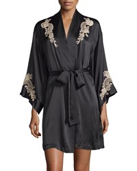 Josie Natori Lolita Lace Inset Belted Short Robe Purple Haze Black Tan