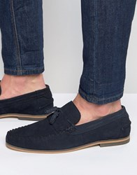 Asos Tassel Loafers In Navy Suede With Fringe And Natural Sole Navy