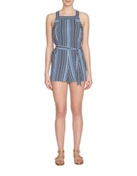 1.State Patterned Romper Dutch Blue