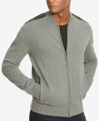 Kenneth Cole New York Men's Faux Leather Trim Sweater Jacket Flannel Heather