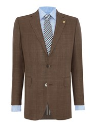 Chester Barrie Tailored Fit Blazer Wool Silk Linen Brown