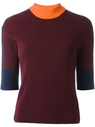 Tory Burch Colour Block Jumper Red
