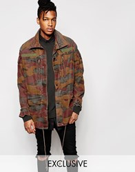 Reclaimed Vintage Camo Jacket With Over Dye Brown