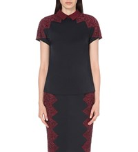 Ted Baker Lace Detail Stretch Satin Top Navy