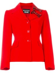 Boutique Moschino Fitted Bow Blazer Red