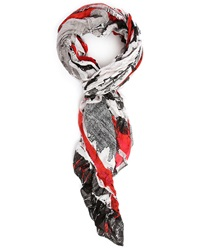 Ikks Paris Wall Print Scarf With Red Trim