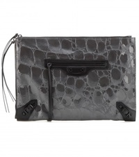 Balenciaga Classic Pouch Embossed Patent Leather Clutch Grey