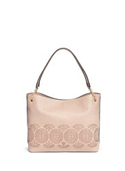 Tory Burch 'Zoey' Floral Perforated Leather Tote Pink