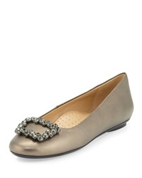 Neiman Marcus Shannon Crystal Buckle Leather Flat Pewter Fume