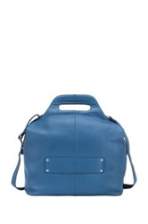 Delsey Gaite Personal 14' Leather Tote Blue