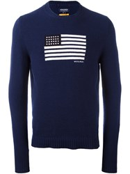 Woolrich Flag Intarsia Sweater Blue