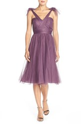 Women's Jenny Yoo 'Maia' Convertible Tulle Tea Length Fit And Flare Dress Raisin