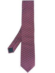 Lanvin Slanted Square Pattern Tie Pink And Purple